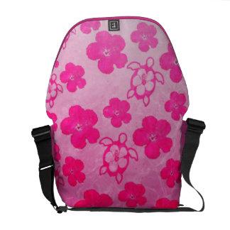 Hibisco y tortugas rosados de Honu Bolsas Messenger