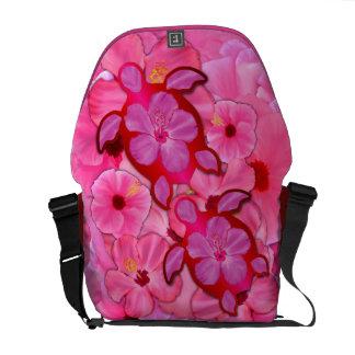 Hibisco y tortugas rosados de Honu Bolsa De Mensajería