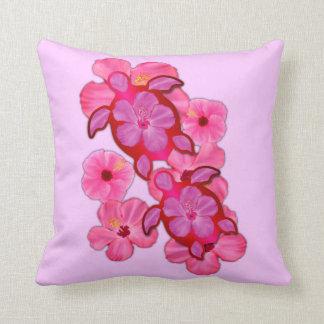 Hibisco y tortugas rosados de Honu Cojín