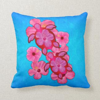 Hibisco y tortugas rosados de Honu Cojin