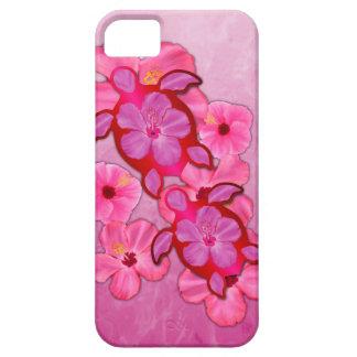 Hibisco y tortugas rosados de Honu iPhone 5 Funda