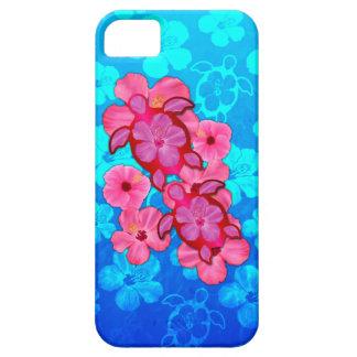Hibisco y tortugas rosados de Honu iPhone 5 Case-Mate Cárcasa