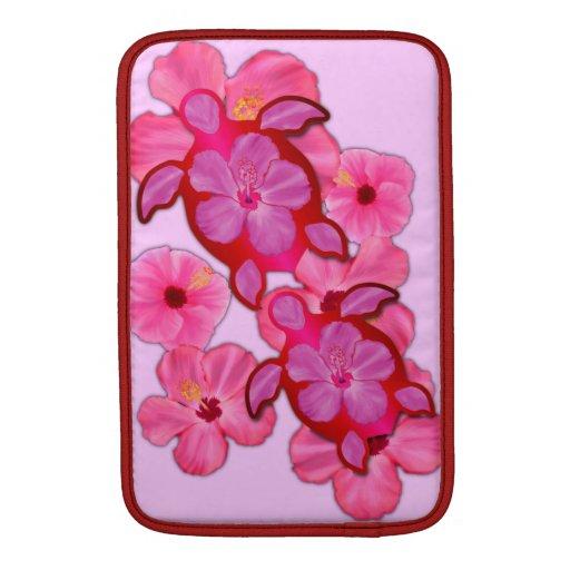 Hibisco y tortugas rosados de Honu Fundas Macbook Air