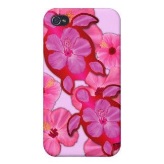 Hibisco y tortugas rosados de Honu iPhone 4/4S Funda