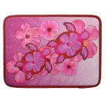 Hibisco y tortugas rosados de Honu Fundas Macbook Pro