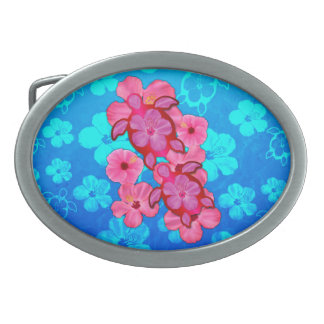 Hibisco y tortugas rosados de Honu Hebilla Cinturón Oval