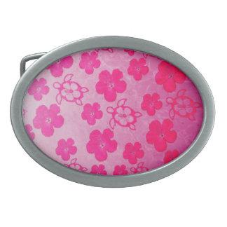Hibisco y tortugas rosados de Honu Hebilla De Cinturón Oval