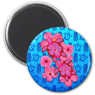 Hibisco y tortugas rosados de Honu Imán Redondo 5 Cm