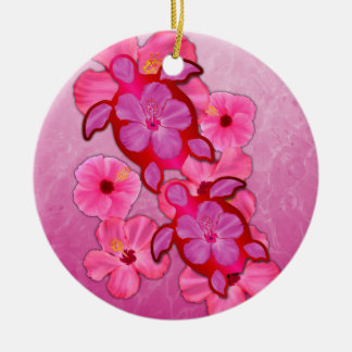 Hibisco y tortugas rosados de Honu Ornato