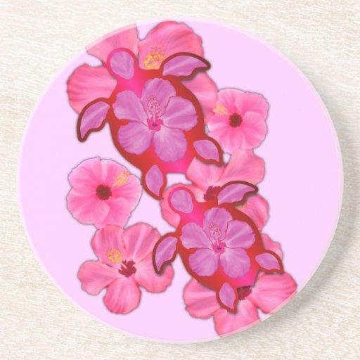 Hibisco y tortugas rosados de Honu Posavasos Manualidades