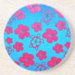 Hibisco y tortugas rosados de Honu Posavasos Personalizados