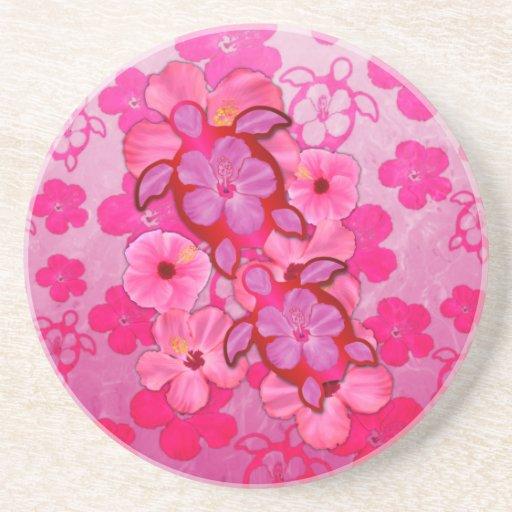 Hibisco y tortugas rosados de Honu Posavasos Para Bebidas