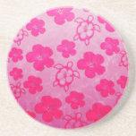 Hibisco y tortugas rosados de Honu Posavasos Diseño