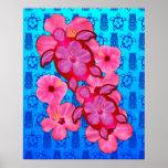 Hibisco y tortugas rosados de Honu Posters