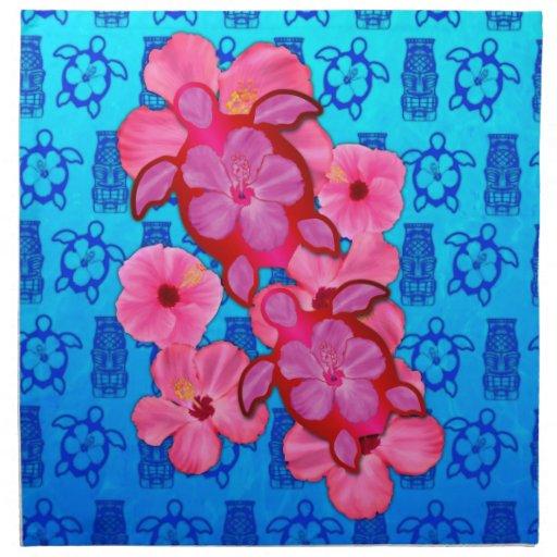 Hibisco y tortugas rosados de Honu Servilleta De Papel