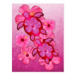 Hibisco y tortugas rosados de Honu Tarjetas Postales