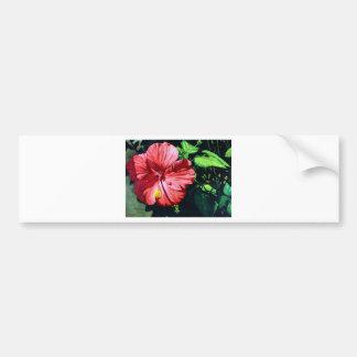 Hibiscus 1, Red Flower, Garden, Watercolor Art Bumper Sticker