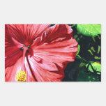 Hibiscus 1, Red Flower, Garden, Watercolor Art Rectangle Sticker