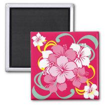 hawaii, flower, pink, hibiscus, cute, pop, illustration, funny, feminine, tropical, summer, surfer, surfing, beach, sea, aloha, coast, paradise, hula, island, illustrations, Ímã com design gráfico personalizado
