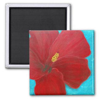 Hibiscus 2 Inch Square Magnet