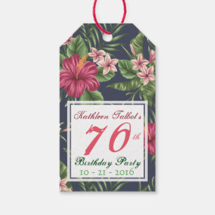 Hibiscus 70th Birthday Party Gift Tag