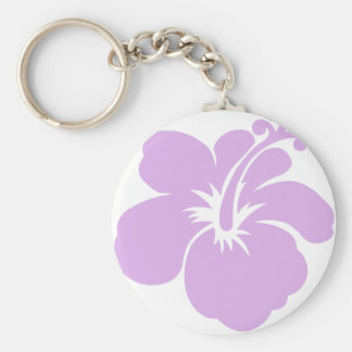hibiscus aloha flower lavender keychain