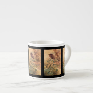 Hibiscus and Blue Heron on a Stump Espresso Cup