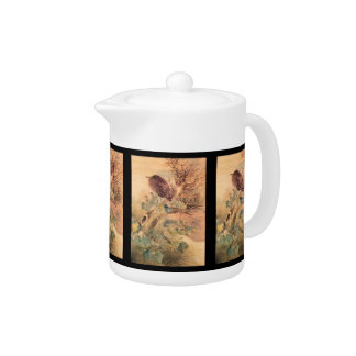 Hibiscus and Blue Heron on a Stump Teapot