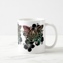 hibiscus, butterfly, flower, art, illustration, graphic, design, cool, surfer, surfing, rock, street, tribal, tattoo, nature, animal, hawaii, beach, animals, Caneca com design gráfico personalizado