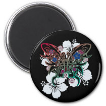 hibiscus, butterfly, flower, art, illustration, graphic, design, cool, surfer, surfing, rock, street, tribal, tattoo, nature, animal, hawaii, beach, animals, Ímã com design gráfico personalizado