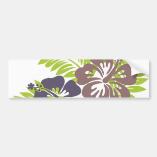 Hibiscus and Leaves Design Bumper Stickers