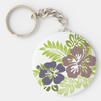 Hibiscus and Leaves Design Keychain