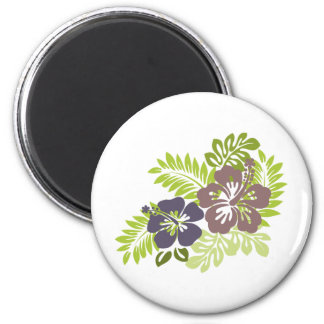 Hibiscus and Leaves Design Magnet