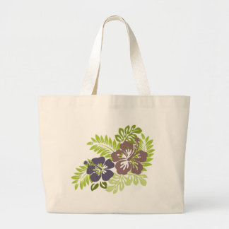 Hibiscus and Leaves Design Tote Bag