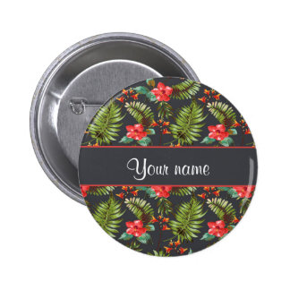 Hibiscus and Palm Fronds Button