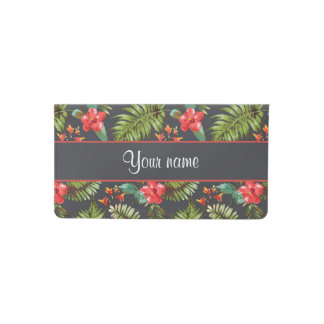 Hibiscus and Palm Fronds Checkbook Cover