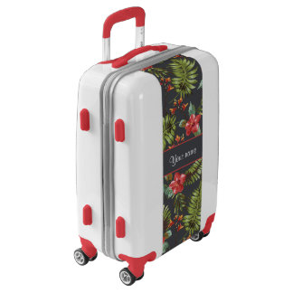 Hibiscus and Palm Fronds Luggage