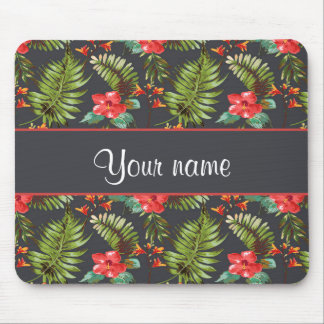 Hibiscus and Palm Fronds Mouse Pad