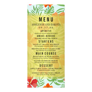 Hibiscus and Palm Leaves Wedding Menu