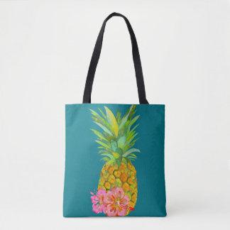 Hibiscus and pineapple tote bag