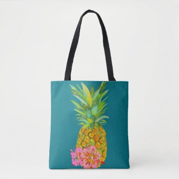 Beach Themed Hibiscus and pineapple tote bag
