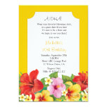 Hibiscus and Plumeria Luau Birthday Party 5x7 Paper Invitation Card