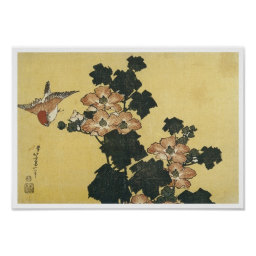 Hibiscus and Sparrow, Hokusai, 1833-34 Posters