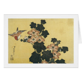 Hibiscus and Sparrow, Hokusai, 183 Card