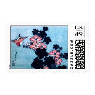 Hibiscus and Sparrow, Hokusai Postage Stamp