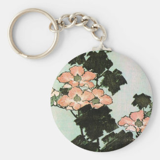 Hibiscus and Sparrow Basic Round Button Keychain