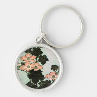 Hibiscus and Sparrow Silver-Colored Round Keychain
