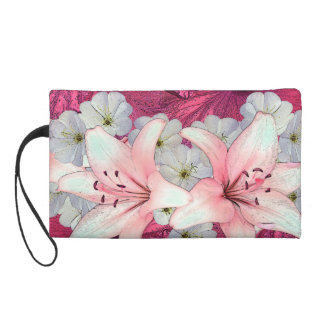 Hibiscus arrangement wristlet purse