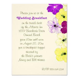 "Hibiscus Art Border Wedding Breakfast Invitation 4.25"" X 5.5"" Invitation Card"