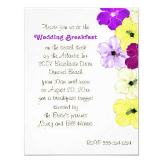 Hibiscus Art Border Wedding Breakfast Invitation